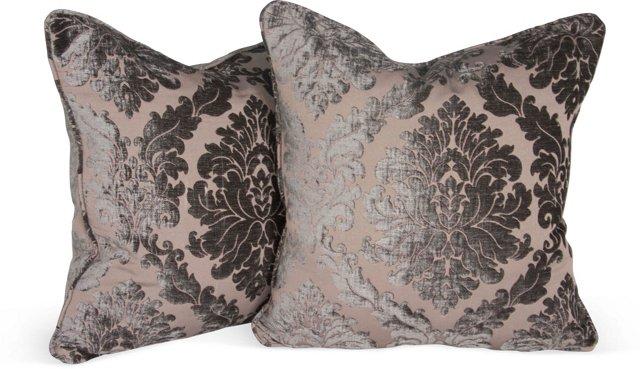 Gray Velvet Damask Pillows, Pair