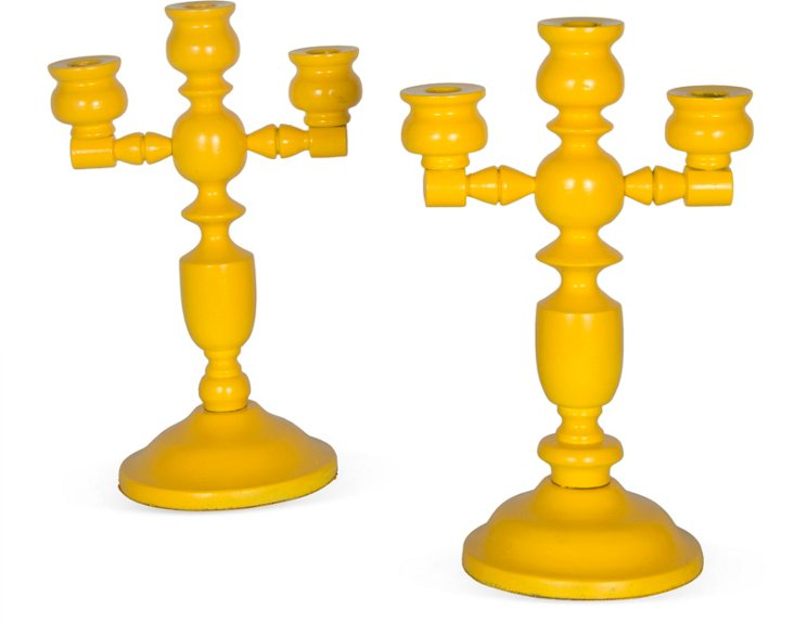 Yellow Wood Candlesticks, Pair