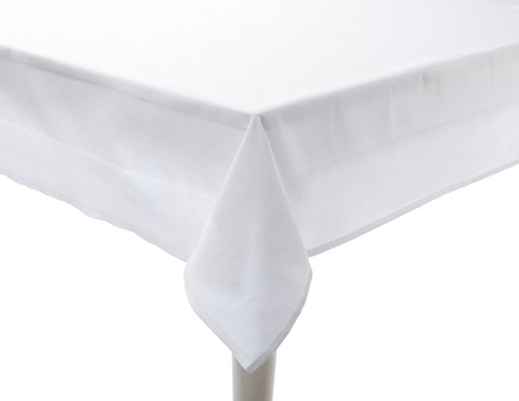 Satin Band Tablecloth, White