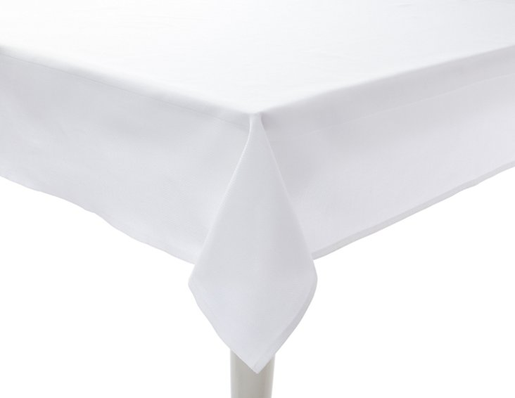Pebble Damask Tablecloth, White