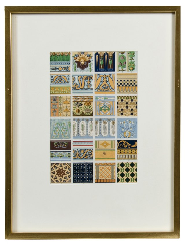 Racinet Tile Pattern Lithograph