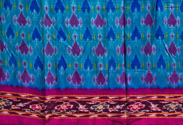 Vintage Indian Sari, Hearts, 4.5 Yds.