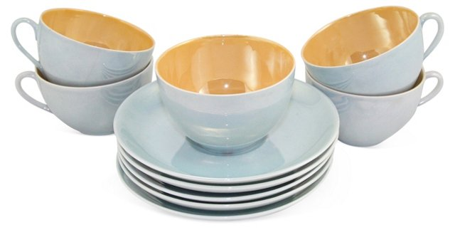 Lusterware Cup & Saucer Set, 10 Pcs.