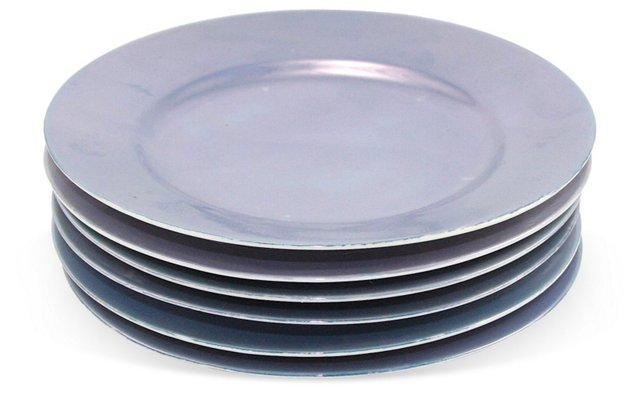 Vintage Blue Lusterware Plates, Set of 6