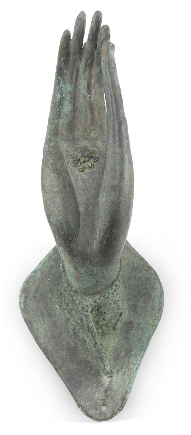 Bronze Buddha Hand & Lotus Flower