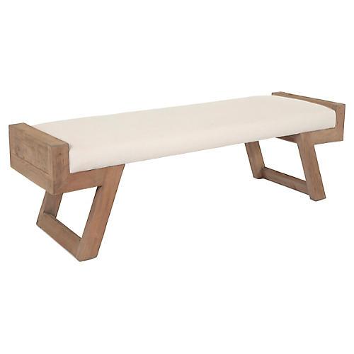 "Perella 67"" Bench, Ivory Linen"