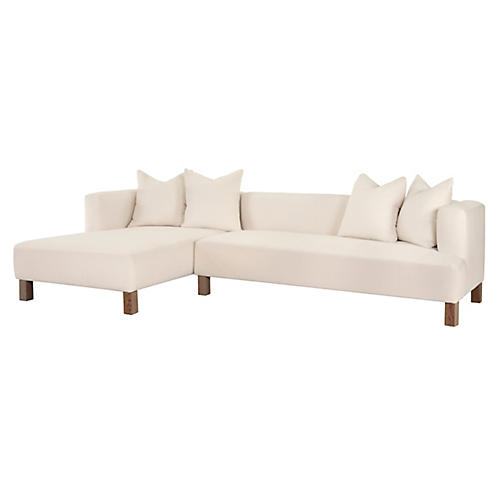 Mathus Left-Facing Sectional, Ivory Linen