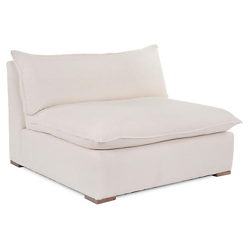 Maddox Slipper Chair, Ivory Linen