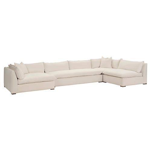 Maddox 4-Pc Sectional, Ivory Linen