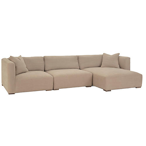 Boyd 3-Pc Sectional, Natural Linen