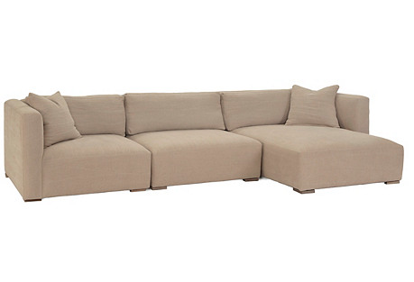 Boyd 3-Pc Sectional, Natural Linen*