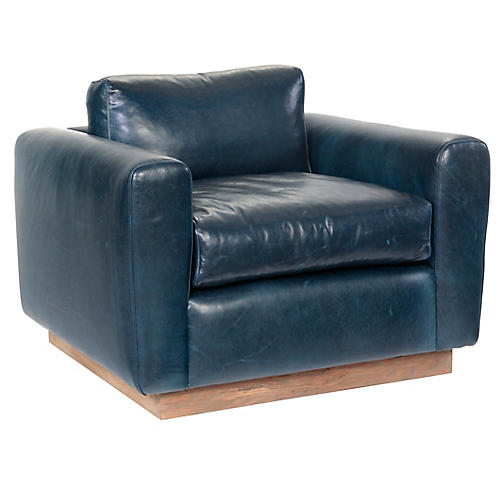 Furh Swivel Club Chair, Blue Leather
