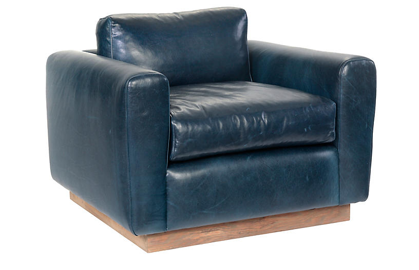 Furh Swivel Chair, Blue Leather