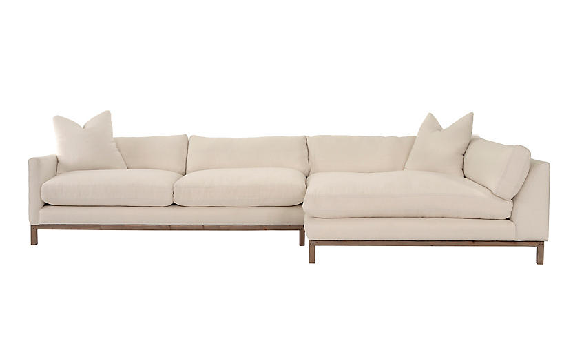 Dae Right-Facing Sectional, Ivory Linen