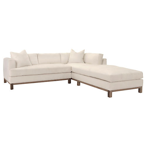 Haley Right-Facing Sectional, Ivory