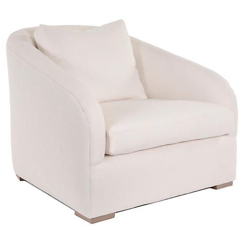 Lazar Club Chair, Ivory Linen