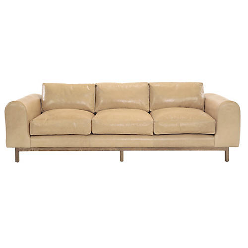 "Connors 100"" Sofa, Tan Leather"