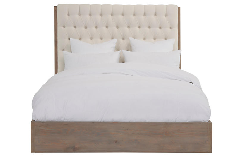 Lalor Tufted Bed, Ivory Linen