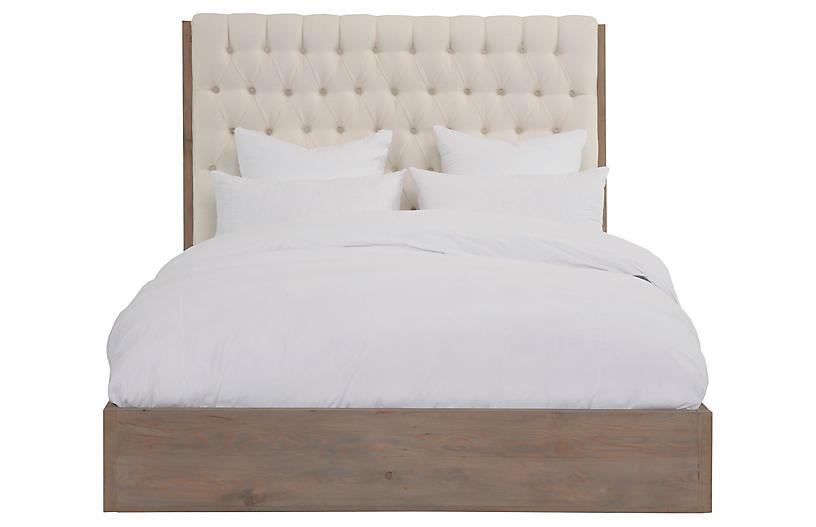 Lalor Tufted Bed, Ivory Linen
