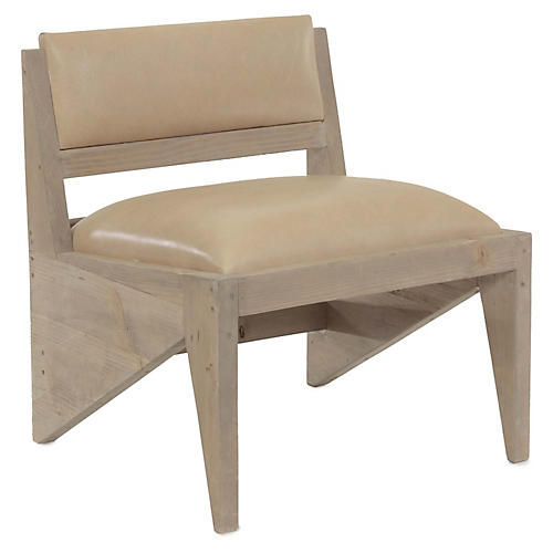 Zee Accent Chair, Buckskin Leather