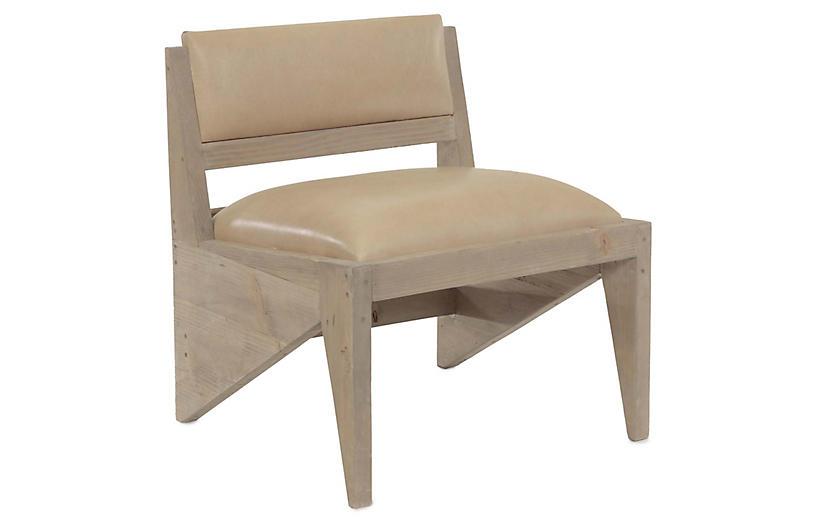 Zee Accent Chair, Buckskin Leather
