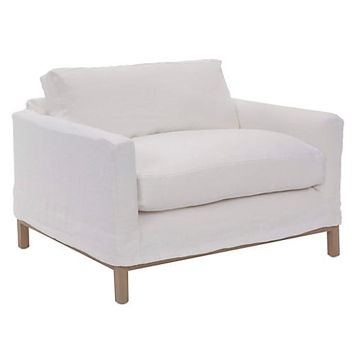 Dufton Slipcover Club Chair, White Linen