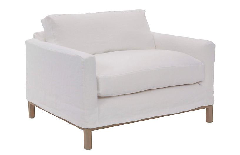 Dufton Slipcover Club Chair, White Linen