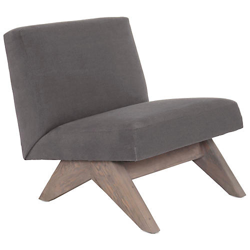 Gillis Accent Chair, Smoke Gray Linen