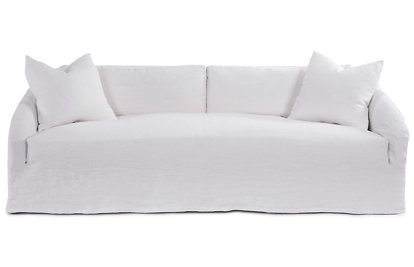 Reilly Slipcover Sofa, Ivory Linen