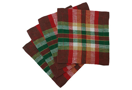 S/4 Holiday Madras Cocktail Napkins