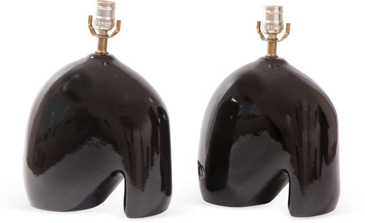 Abstract Table Lamps, Pair