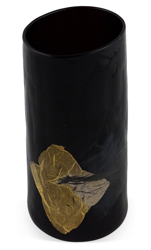 Glass Vase w/ Gold Leaf