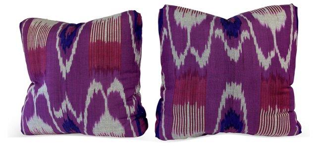 Uzbek Ikat Cotton Pillows, Pair