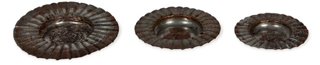 Moroccan Copper Trays, Set of 3