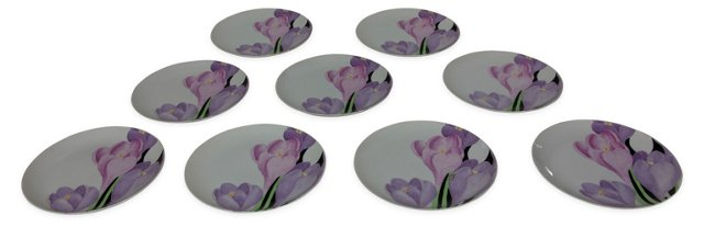 Hand-Painted Tulip Plates, Set of 9