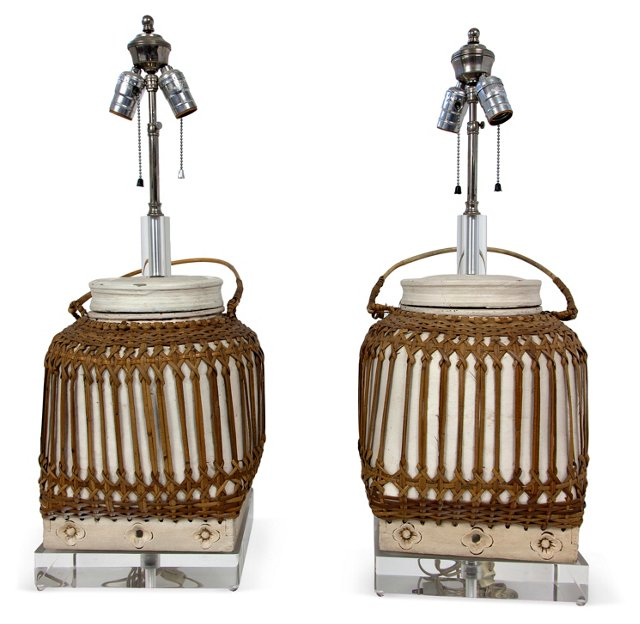 Lucite Basket Lamps, Pair