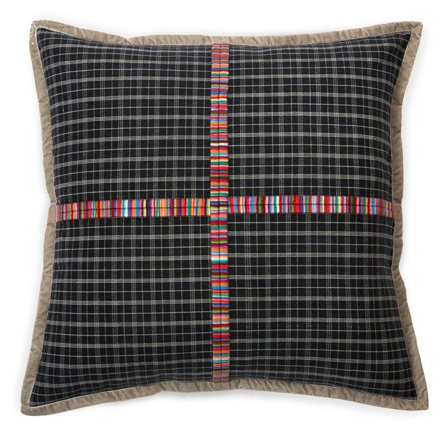 Embroidered Pillow w/Velvet Ribbon