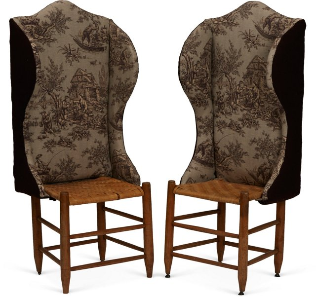 Vintage Wing Chairs, Pair