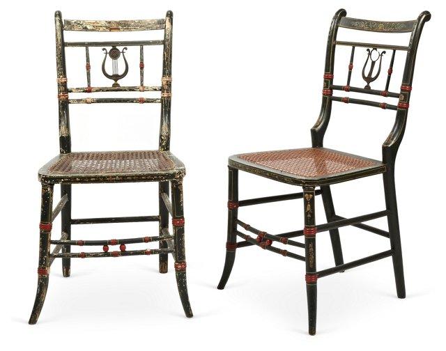 Cane Chairs, Pair