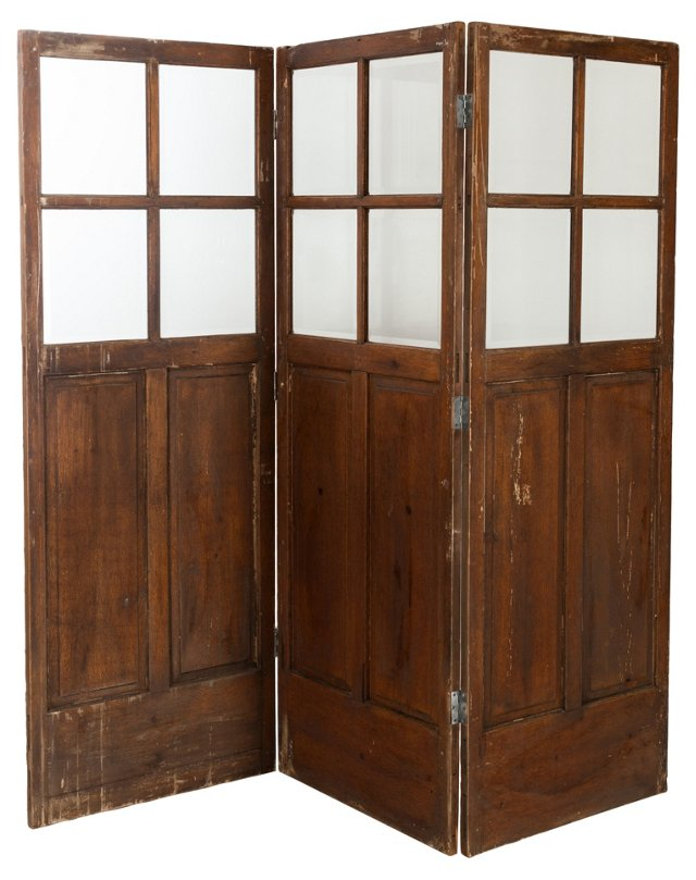 3-Panel Faux-Wood Painted Screen