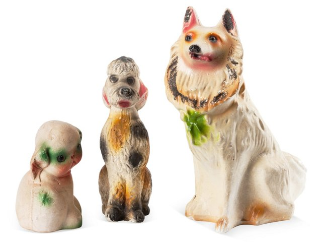 Chalkware Dogs, Set of 3