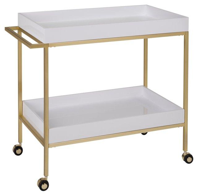 Refined Bar Cart, White/Gold
