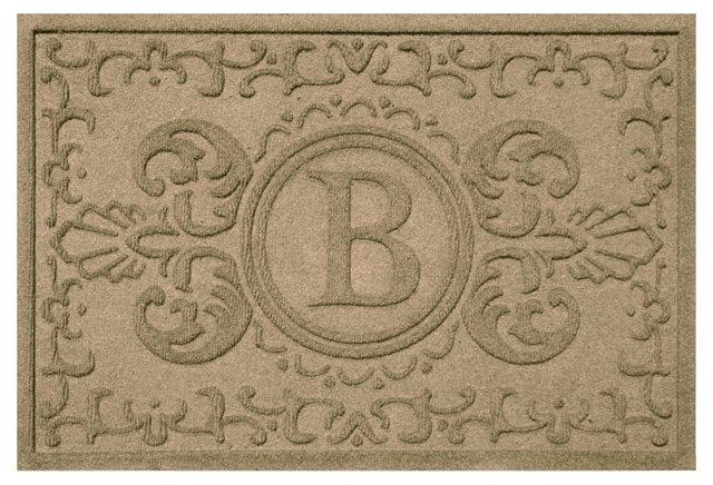 "1'11""x3' A Baroque Monogram Mat, Camel"