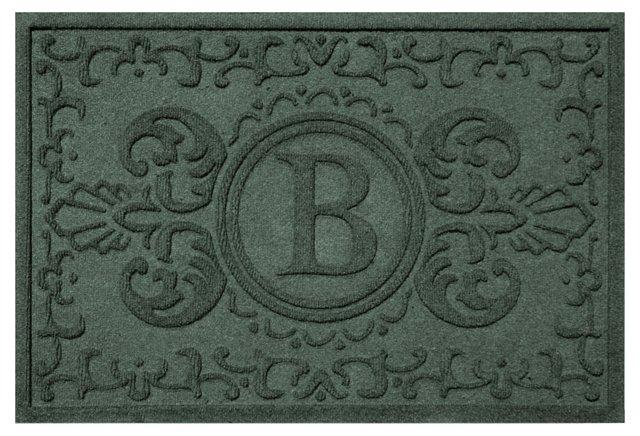 """1'11""""x3' A Baroque Monogram Mat, Green"""