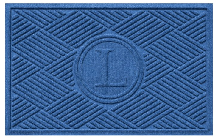 "1'11""x3' Diamond Monogram Mat, Blue"