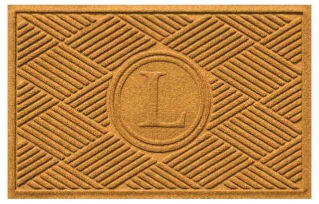 "1'11""x3' Diamond Monogram Mat, Gold"