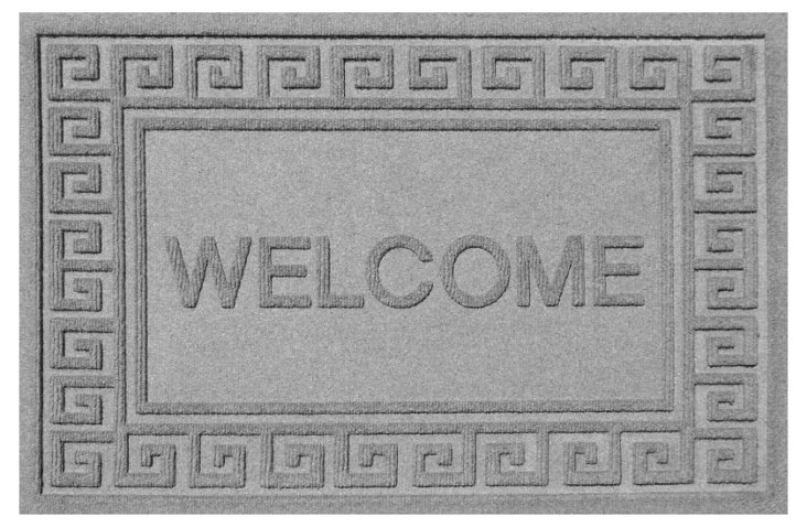 "1'11""x3' Greek Key Welcome, Gray"