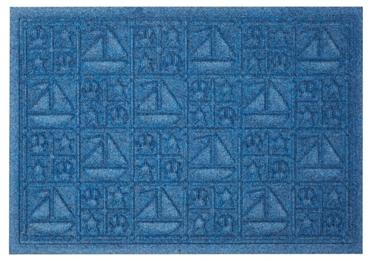 "1'11""x3' Nautical Mat, Blue"