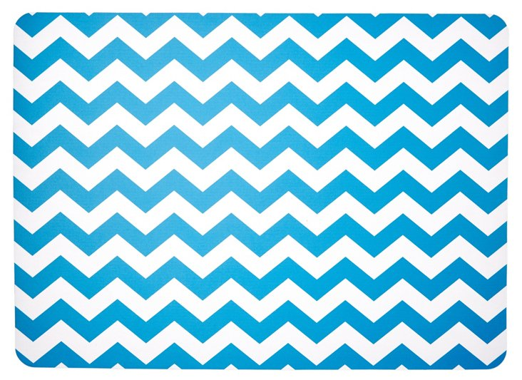 "1'11""x2'7"" Chevron Floor Mat, Blue"