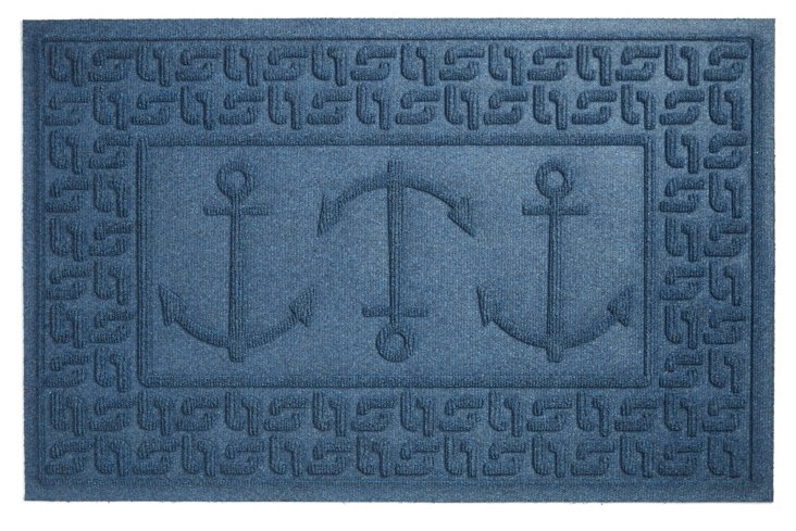 "1'11""x3' Ahoy Doormat, Navy"
